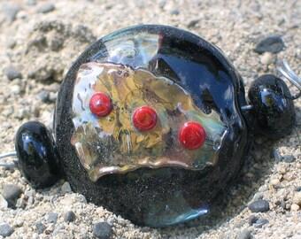 """Handmade Glass Lampwork Beads, """"Black/Aqua"""" straight sided lentil, focal, filler, art"""