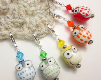 5 Stitch Markers - Brightest Owls