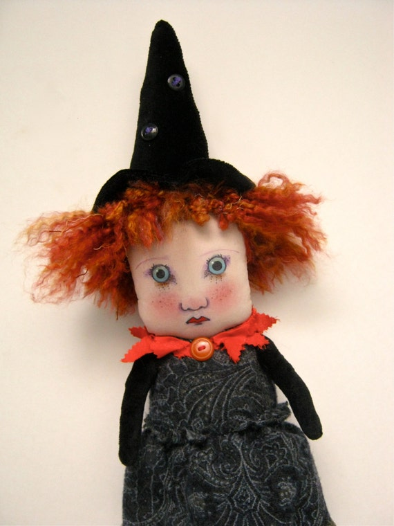 reserved SOLD to Cheryl Freckles Halloween witch redhead art doll, BIG witch doll,  black velvet, ooak art doll, wall art doll, shelf doll,