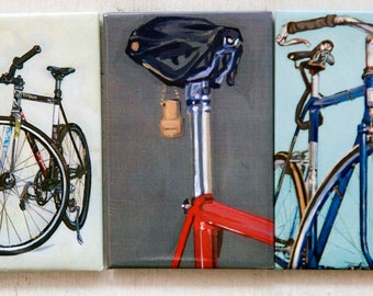 Bicycle Paintings Urban Bike Magnet Set