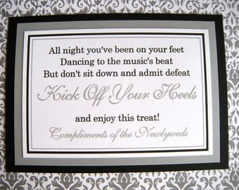 5x7 Flat Kick Off Your Heels Wedding Flip Flop Basket Paper Sign in Black and White and Metallic Silver READY TO SHIP