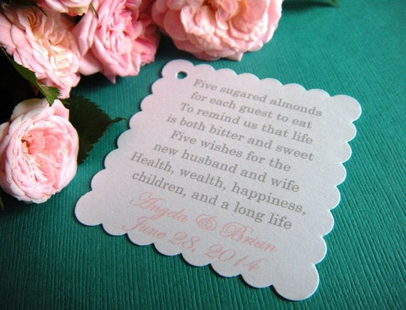 100 Custom Printed Jordan Almond Wedding Favor Tags On White