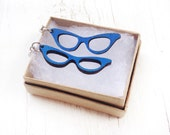 Laser Cut Cat Eye Glasses Wood Earrings