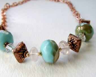 Aqua Glass and Copper Chain Necklace