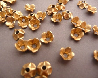 12 Brass Flower Settings - Rhinestone Settings