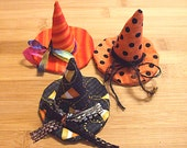 Halloween Folk Art Orange and Black Witch Hat Bowl Filler Ornaments