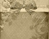 Buy 1 Get 1 FREE Shabby Royal - Carte Postale Sepia - French Butterfly Rose No.3 - 5x7 Digital Collage - Antique Image - INSTANT Download