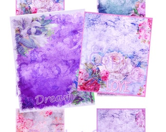 "Buy 1 Get 1 Free Dream - Love - Hope Altered Art Shabby Digital Collage 2.5x3"" No.2 INSTANT DOWNLOAD"
