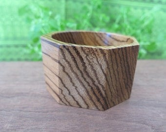 Wood Bangle -Zebrawood Striped Wooden Cuff Bracelet - Natural Exotic Large African - Zebra Geometric Hexagon  Stripe - Bold Boho Jewelry