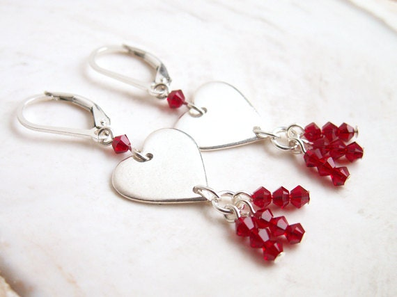 Red Heart Earrings Valentine Jewelry Handmade Fine Silver Hearts Red Crystal Beads Sterling Silver Earrings Genuine Swarovski Red Earrings
