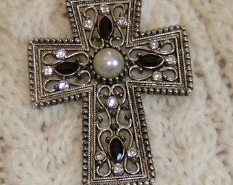 "Cross center pearl, rhinestone and black glass pendant apx 2"" x 1.5"" w suede band"