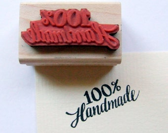 """Hand Lettered Rubber Stamp, """"One Hundred Percent Handmade"""" Handwritten Makers Stamp, Calligraphy Stamp, DIY Packaging Design"""