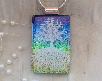 Tree of Life Dichroic Glass Pendant, Necklace, Fused Glass Jewelry, Enamel, Blue, Aqua, Necklace Included, A7