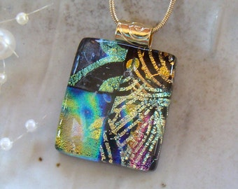 Fused Dichroic Glass Pendant, Glass Jewelry, Gold, Aqua, Necklace Included, One of a Kind, A3
