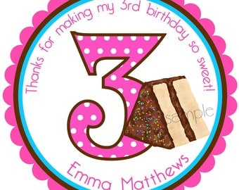 Birthday Cake stickers, Birthday age stickers, Personalized stickers, Labels, Seals, Birthday, Sprinkles, Favor , set of 12