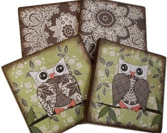 Owl Bird Coasters Decoupaged Wood Wooden Drink Coaster Set of 4 Gift for Couples Housewarming Gift MADE TO ORDER By Gifts And Talents