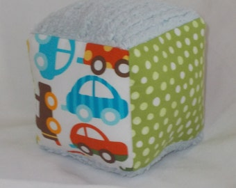 Ready, Set, Go Cars Chenille Fabric Block Rattle