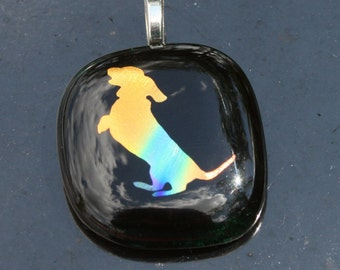 You will love this DICHROIC Dashound Fused Glass Dog Pendant