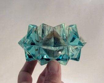 four glass candle holders aqua blue green clear diamond, geometric starburst shape