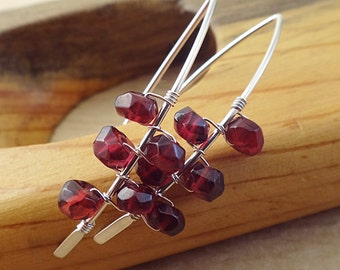 Red Garnet Earrings -  Half Hoop Earrings - Boho Garnet Earrings - Sterling Silver Earrings - Garnet Jewelry