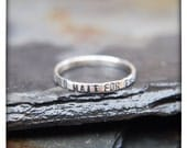 Held for Nicole - Take Heart And Wait For The Lord - sterling silver ring