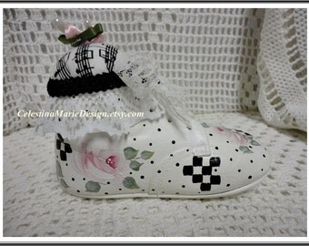 Vintage Baby Shoe Hand Painted with Roses, Checks and Dots, Embelished, ECS, CSSTeaml