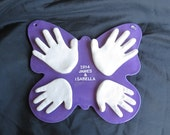 Hand and Footprint Butterfly OUTPIRNT 3D Plaque by Mail and Mold Kit