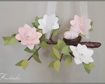 Pink and White English Bloom Tree Limb Baby Mobile Nursery Mobile Baby Mobile