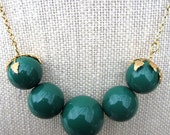 CLEARANCE - 40% OFF - Forest Lawn Necklace - forest green and gold beaded necklace - Free Shipping to USA