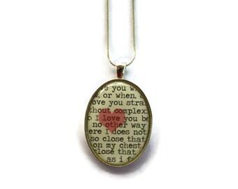 Pablo Neruda love sonnet fragment pendant