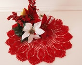 Red hand crochet Poinsettia  doily centerpiece for your table  side table