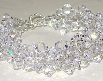 Swarovski Crystal Bridal Cuff Snow and Ice Bracelet Chunky Statement Bold Crystals Clear Silver Wedding Jewelry