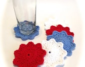 Patriotic Crocheted Coasters-Red, White, And Light Blue-Set Of Six