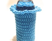 Hot Blue Crocheted 16.9 Ounce Water Bottle Cover