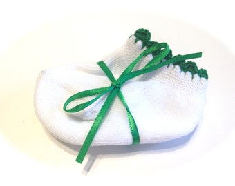 Pair Of Infant Girl Socks With Emerald Green Crocheted Shell Stitch-Size 0-6 Months