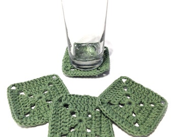 Set Of Four Sage Green Granny Square Crocheted Coasters