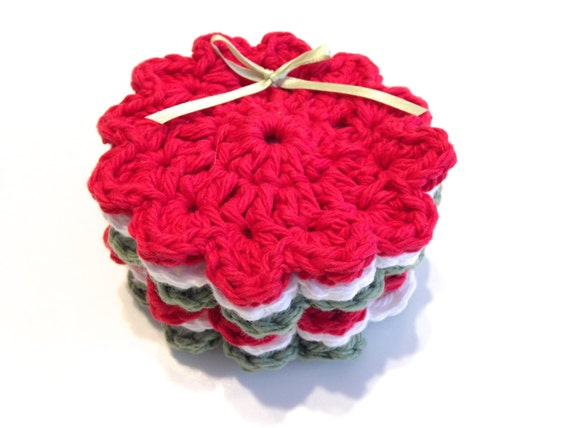Christmas Colored Crocheted Face Scrubbies-Red, White, And Sage Green-Miniature Set Of Six