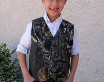 Mossy Oak Camouflage Vest, Boys Sizes 3 - 8