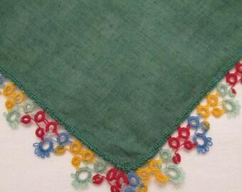 Vintage Hanky/ Handkerchief - Dark Green With Tatting