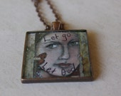 Let Go Resin Art Pendant with free chain Serenity Recovery Spiritual God