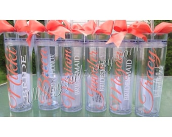 Set of 12 Tall skinny personalized tumbler wedding party gifts bride bridesmaids flower girls CORAL