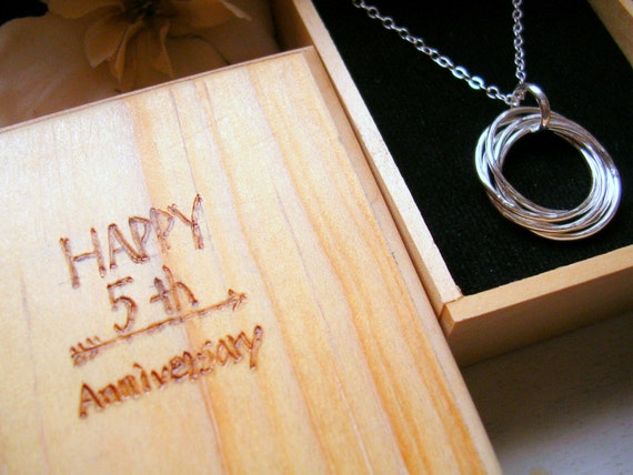 Traditional 5th Wedding Anniversary Gifts: 5th Anniversary Gift Five Entwined Silver Rings By