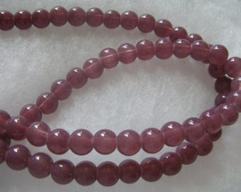80 Plum Color Glass Beads about 8mm Round Beads Jewelry Craft Beads