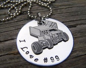 Sprint Car Handstamped Necklace Custom Any Length