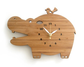 Modern Bamboo Hippo wall clock for children's room