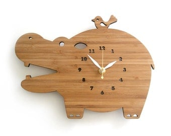 Hippo Wall Clock Wood