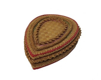 FINAL SALE - Old Woven Straw Box Heart Shaped Satin Lined Unusual Valentines Day