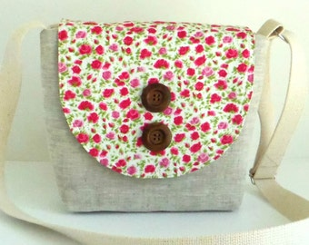 SALE Liberty of London and Linen - Crossbody Satchel - Ricardo's Blooms - Rose Colorway
