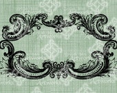 Digital Download Rococo Baroque Flourish Label Frame Border, digi stamp Antique Illustration Add Photos or Text, Digital Transfer