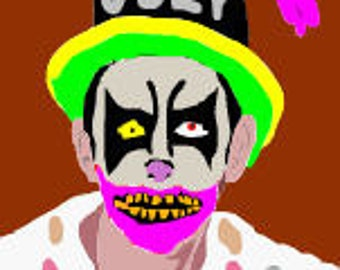odey clown digital portrait Halloween artwork